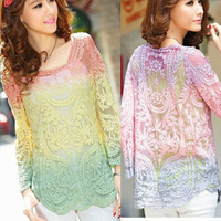 New 2014 Spring Fashion Vintage Embroidery Floral Women Lace Crochet Blouse Shirt Gradient Tops Blouses Hollow Out ZL5383