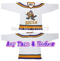 Womens - Custom Ice Hockey Mighty Ducks Movie Jersey Stitch White Personalized - Customized  (XXS-6XL)