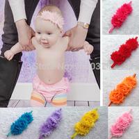 10pcs/lot Triple Trail order Baby Infant Kids Pure color Shabby Chiffon Frayed Flowers Skinny Elastic Headbands Hair accessory