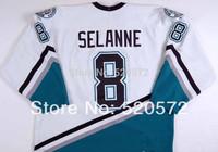 Womens - Teemu Selanne #8 Jersey Mighty Ducks Jerseys Anaheim Hockey 1998-99 - Custom Jersey  (XXS-6XL)