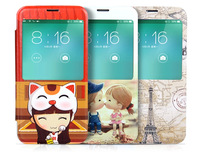 Free shipping 2014 Hot New Cell Phone Cases For Samsung Galaxy s5 OEM Design Cartoon Leather Brushed With Window galaxy s5 Case