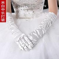 Factory direct wholesale bridal wedding  satin wedding dress in beige pull Zou  Spot white satin gloves