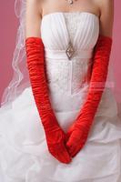 2014 new bridal  finger  red satin fold lengthening  winter long wedding gloves