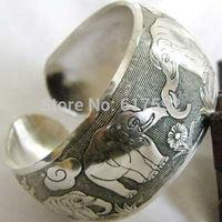 ZBR097 Thai Elephant Metal Tibetan Silver vintage retro Fashion Bracelet Cuff Bangle Free Shipping for her