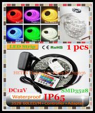 envío gratis 1 conjunto 5m epoxi 3528 300 ip65 resistente al agua smd led flexible tira de led rgb luz de la lámpara + remoto ir + 2a adaptador de corriente(China (Mainland))