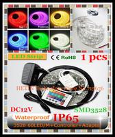 Free Shipping 1 set 5M IP65 Waterproof Epoxy SMD 3528 300 LED Flexible led RGB Strip lamp light + IR Remote + 2A Power Adapter