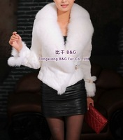 BG21884  Genuine Rabbit Fur Short Jacket  With Fox Fur Trim 2014 Winter Fur Female Jacket