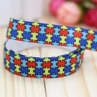 5/8'' Free shipping Fold Over Elastic FOE autism printed headband headwear hair band diy decoration wholesale OEM P2979
