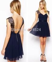 2014 hot sale New fashion lace Chiffon backless sleeveless V neck women summer elegant princess mini pleated dress,S M L XL size