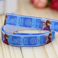 5/8'' Free shipping Fold Over Elastic FOE frozen let it go printed headband diy decoration wholesale OEM P2974