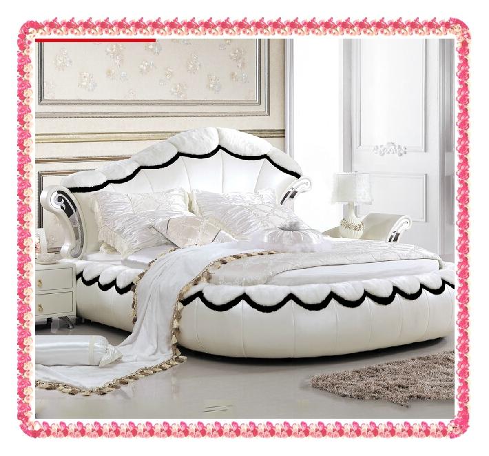 Oval shape fashion white leather bed wedding bed hot selling(China (Mainland))