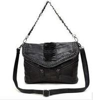 Women Leather Handbag 2014 New Fashion Woven Vintage Bag Sheepskin Patchwork fold Genuine Leather Bag Shoulder Bag 6126