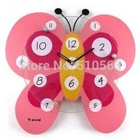 gz055 Hot 1pcs Cute watch wall clock cartoon wall clock fashion creative butterfly silence supe sitting room clocks