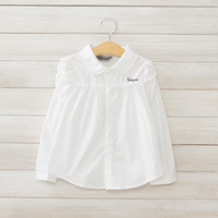 2014 New,girls white blouses,children cotton shirts,long sleeve,letter,embroidery,2-8 yrs,5 pcs/lot, wholesale,1526