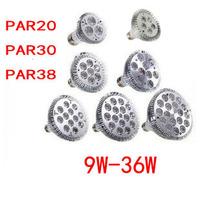 E27 E26 PAR20 PAR30 PAR38 led bulbs light 9/12/18/24/30/36W Dimmable 110V 220V warm/pure/cool white led spotights