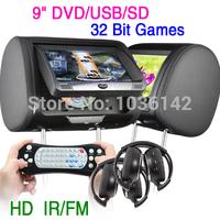 "2*9""  DIGITAL SCREEN CAR HEADREST MONITOR DVD USB SD PLAYER WITH 32 BIT GAMES + 2 IR HEADPHONES KS900"