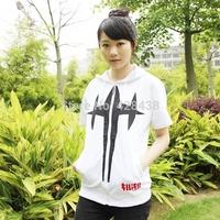 2014 new anime KILL la KILL white Cosplay costume Unisex cotton Zip short sleeve Hooded Sweater Casual t-shirt for men women