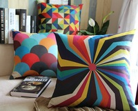 Free shipping 2014 NEW and pillow linen Cotton Modern colored geometric home PillowCase  Pillow cover and cushion cover