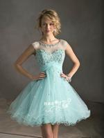 Fashion New Summer dress 2014 Lace Diamond Short Evening dress Sky blue prom dresses vestido de festa party dresses gowns E5