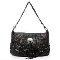 2014 Women Handbags Tassel Skull Sequins Shoulder Bags Fashion Messenger Bags Genuine Leather bag Free Shipping 6166