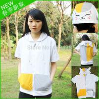 2014 new anime natsume yuujinchou cat Cosplay costume Unisex cotton Zip short sleeve Hooded Sweater Casual t-shirt for men women