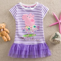 Peppa Pig Stripe Girls'  Princess Dresses New Fashion 2014 Summer Kids Wear Baby TUTU Dresses Casual  Girls Lace Dresses