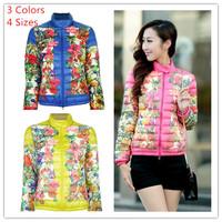 Hot sale new 2014 winter fashion female desigual  parkas pink yellow blue color vintage flower print warm jackets coats
