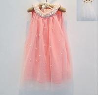Beautifull Sleeveless Pearls Lace Gauze Mesh yearn Top Girl Dress Children princess party Dresses pink white