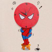 removable Three-dimensional 3d cartoon fashion personality rustic quartz clock mute wall clock wall sticker spiderman