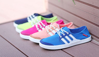 Free shipping 2014 brand new women canvas shoes canvas flats loafers casual single shoes solid sneakers for women