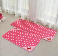 Cute Hot Pink Hello Kitty Polka Dot Bowknot Floor Carpet Cartoon Door & Room Rug Mat 50*120cm Free Shipping