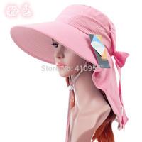 2014 Hot women UV block waterproof big brim sun hat with backswing curtain outdoors quick dry beach cloak hiking sunbonnet hat