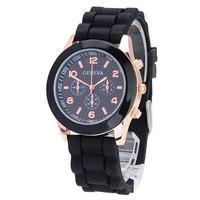 10 Colors GENEVA Brand New Soft Gold Case Silicone Band Quartz Unisex Women Gift Watch Cheap Watch
