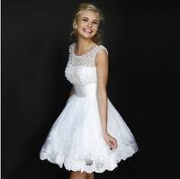 Fashion New Lace Short Wedding dress 2014 Boat Neck White Pearl vestido de noiva wedding dresses bridal gown vestido de noiva W9
