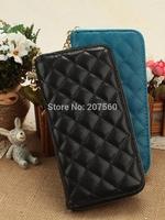 2014 new fashion high-grade diamond lattice women high imitation sheepskin PU leather wallets,lady zipper purse,clutch wallet