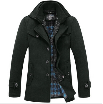 HOT Selling 2014 Mens pea coat woolen coats jackets for men Winter clothes outdoor overcoat stylish turn down collar jacket K025(China (Mainland))