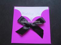 Rose pink color Wedding Invitations cards  with black ribbon 200Cards+ 200 Envelopes + 200 Seals IV001