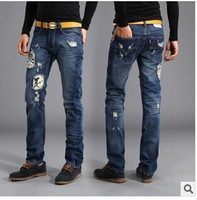 [1846] 2014 High Quality Skull Casual Jeans Men Size 36 Denim Pants Famous Brand Ripped Jeans Frayed Jeans Street Fashion Jeans
