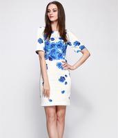S-XXL Floral Printed Dress Women Lady Slim Work Career Office Party Dress One-Piece Dress 2014 New Fashion Summer Autumn C9ML160