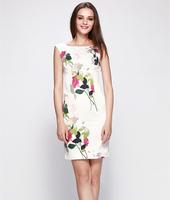 S-XXL Elegant Printed Dress Women Lady Slim Career Work Office Party Dress 2014 New Fashion Summer Autumn C9ML166