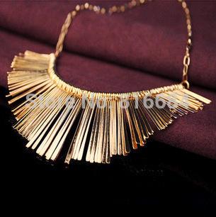 Versandkostenfrei( 1pcs/Menge) 2014 mode gold chunky metall halskette vintage-schmuck aussage halskette für frauen