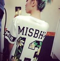 Short-sleeve fashion HARAJUKU street tee shirt gd hiphop misbhv flowers digital 13 t-shirt