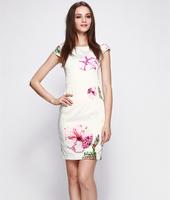 S-XXL Elegant Printed Dress Women Lady Floral Office Work Dress 2014 New Fashion Summer Autumn C9ML133