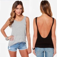 Fashion Women Back Deep V Sexy Backless Sleeveless Vest Tank Casual Tops Blouses