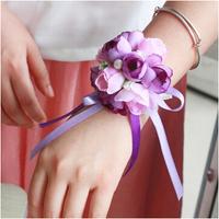 Free shipping 10pcs/lot wedding wrist flowers Silk cloth corsage artificial flower wedding supplies P5925