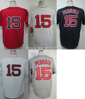 Boston #15 Dustin Pedroia Men's Authentic Cool Base Alternate Home Red/White/Road Navy/Home White/Road Grey Baseball Jersey