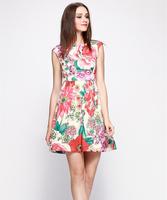 S-XXL Elegant Printed Dress Women Lady A-Line Floral Casual Dress 2014 New Fashion Summer Autumn C9ML115