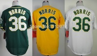 Oakland #36 Derek Norris Men's Authentic Cool Base Alternate Green/Alternate Yellow/Home White Baseball Jersey