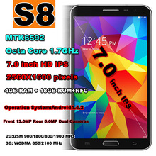 New Arrival 2014 mobile phone Brand original S8 Octa Core phone android cell phones 7.0 inch IPS HD screen 4GB RAM GPS NFC(China (Mainland))