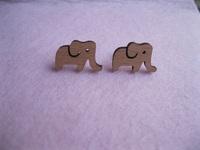 eco friendly laser cute wooden elephants ear studs jewelry